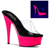 pink 15 cm DELIGHT-601UV neon platå slip ins dame med hæler