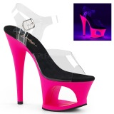 pink 18 cm MOON-708UV høyhælte sandaler neon platå