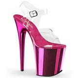 pink 20 cm FLAMINGO-808 krom platå høye hæler sko
