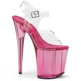pink 20 cm FLAMINGO-808T akryl platå høyhælte sandaler