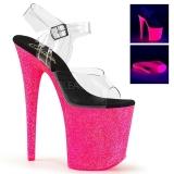 pink 20 cm FLAMINGO-808UVG neon platå høyhælte sandaler sko