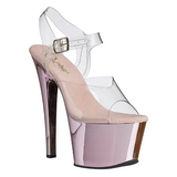 pink gjennomsiktig 18 cm SKY-308 platå høye hæler sko