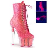pink glitter 18 cm ADORE-1020G ankelstøvletter med platåsåle til dame