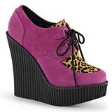 pink kunstlær CREEPER-304 wedge creepers sko med kilehæler