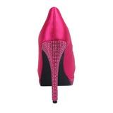 pink satin 13,5 cm BELLA-12R strass platform pumps sko