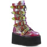 regnbue 9 cm DAMNED-225 høye platåstøvler til dame med spenner