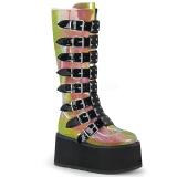 regnbue 9 cm DAMNED-318 høye platåstøvler til dame med spenner