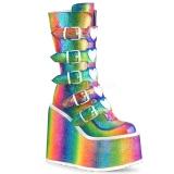 regnbue glitter 14 cm SWING-230 cyberpunk platåstøvler