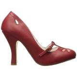 rød 10 cm SMITTEN-20 pinup pumps med lave hæler