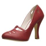 rød 10 cm SMITTEN-20 pinup pumps sko med lave hæler