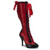 rød 11,5 cm TEMPT-126 høye dame støvler med snøring