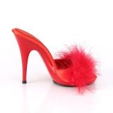 rød 13 cm POISE-501F marabou fjær høye sko mules