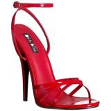 rød 15 cm DOMINA-108 fetish sandaler med stiletthæler