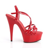 rød 15 cm Pleaser DELIGHT-613 sandaler med høye hæler