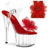 rød 18 cm ADORE-708BFL pleaser platåsandaler for kvinner