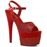 rød 18 cm ADORE-709-2G glitter platå sandaler dame