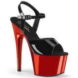 rød 18 cm ADORE-709 krom platå høye hæler
