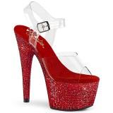 rød 18 cm BEJEWELED-708DM high heels platå med strassteiner