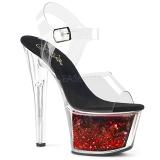 rød 18 cm SKY-308WHG glitter platå høye hæler dame