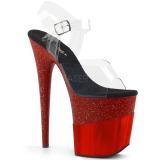 rød 20 cm FLAMINGO-808-2HGM glitter platå sandaler dame