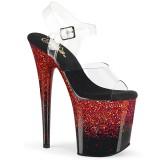 rød 20 cm FLAMINGO-808SS glitter platå høye hæler dame