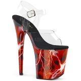 rød 20 cm FLAMINGO-808STORM hologram platå høye hæler dame