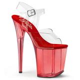 rød 20 cm FLAMINGO-808T akryl platå høyhælte sandaler