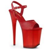 rød 20 cm FLAMINGO-809T akryl platå høye hæler dame