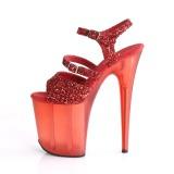 rød 20 cm FLAMINGO-874 glitter platå sandaler dame