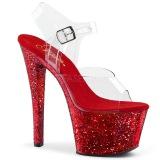 rød 20 cm SKY-308LG glitter platå høye hæler dame