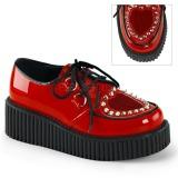 rød 5 cm CREEPER-108 creepers sko for dame platåsko med tykke såler