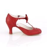 rød 7,5 cm retro vintage FLAPPER-11 pinup pumps med lave hæler