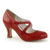 rød 7,5 cm retro vintage FLAPPER-35 pinup pumps med lave hæler