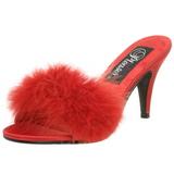 rød 8 cm AMOUR-03 marabou fjær høye sko mules
