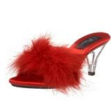 rød 8 cm BELLE-301F marabou fjær høye sko mules