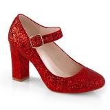 rød 9 cm SABRINA-07 pinup pumps sko med blokkhæl