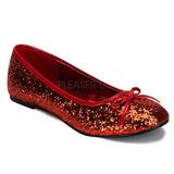 rød STAR-16G glitter ballerinasko dame med flate hæl