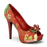 rød blomster 13 cm LOLITA-11 høye damesko med høy hæl
