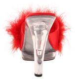 rød gjennomsiktig 13 cm Fabulicious LIP-101-8 platå høye mules