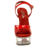 rød gjennomsiktig 15 cm CAPTIVA-609 platå høye hæler sko