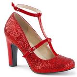 rød glimmer 10 cm QUEEN-01 store størrelser pumps sko