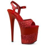 rød glinser 20 cm Pleaser FLAMINGO-809-2G høye hæler platå