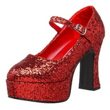 rød glitter 11 cm MARYJANE-50G platå pumps mary jane