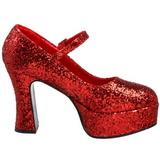 rød glitter 11 cm MARYJANE-50G platå pumps mary jane