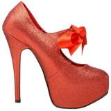 rød glitter 14,5 cm Burlesque TEEZE-04G høye damesko med høy hæl