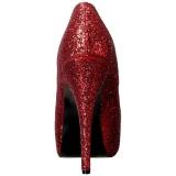 rød glitter 14,5 cm Burlesque TEEZE-06GW pumps for brede føtter til menn