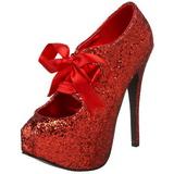 rød glitter 14,5 cm Burlesque TEEZE-10G platform pumps sko
