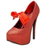 rød glitter 14,5 cm TEEZE-04G høye damesko med høy hæl