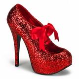 rød glitter 14,5 cm TEEZE-10G platform pumps sko