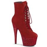 rød glitter 18 cm ADORE-1020FSMG høyhælte ankelstøvletter - pole dance støvletter